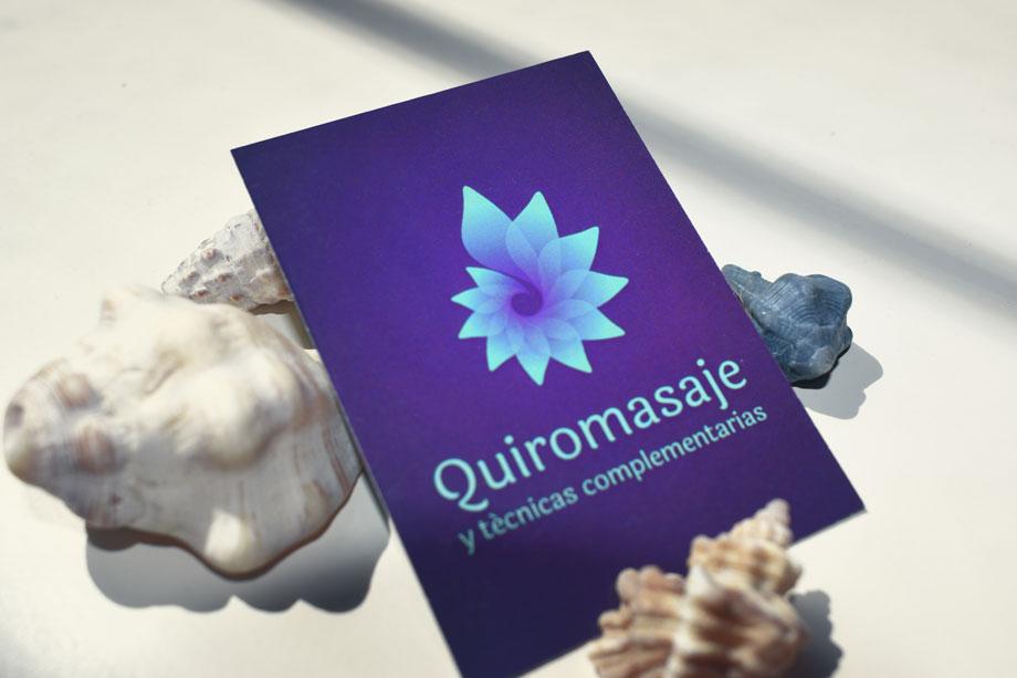 Quiromasaje, logo y tarjetas