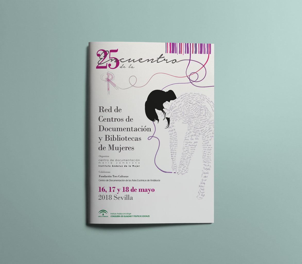 Programa de mano del XXV Encuentro de la Red de Centros de Documentación y Bibliotecas de Mujeres. UyM y Violeta Asensio.
