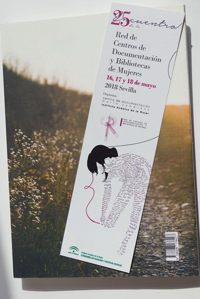 Merchandising del XXV Encuentro de la Red de Centros de Documentación y Bibliotecas de Mujeres. UyM y Violeta Asensio.