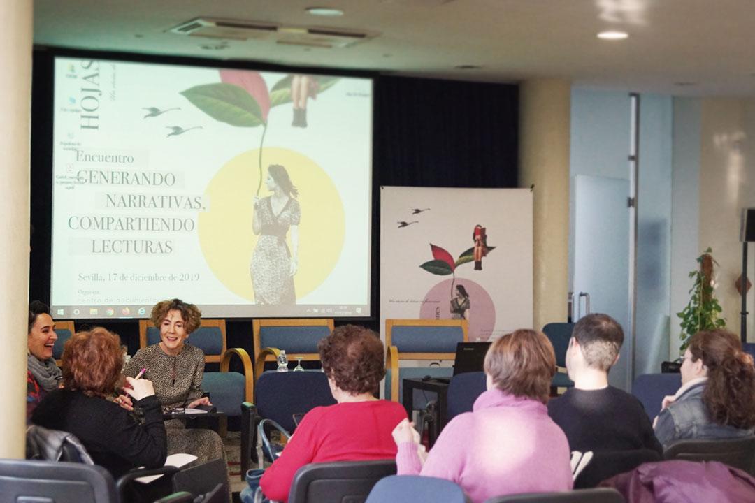 Aure Daza y Paola Fernández Zurbarán. Encuentro de Clubs de Lectura de Andalucía. Generando narrativas, compartiendo lecturas.